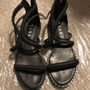 LAMB Black Viper Leather Sandals 8